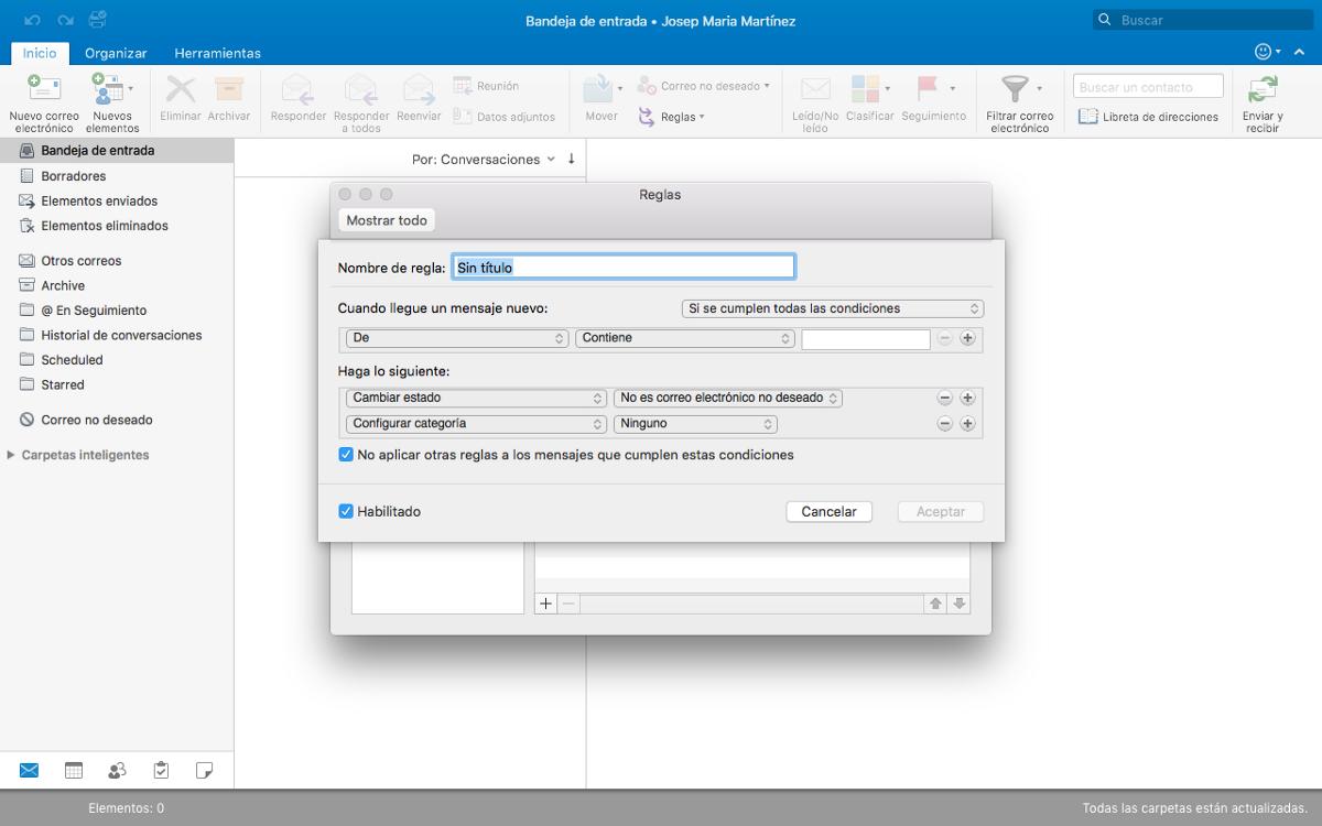 Outlook · Creación de reglas o filtros inteligentes
